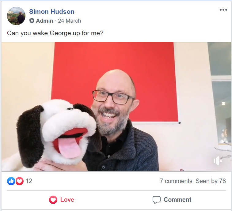 Simon and George the dog on Facebook